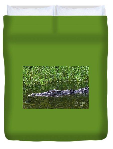 Saltwater Crocodile In Kakadu Duvet Cover