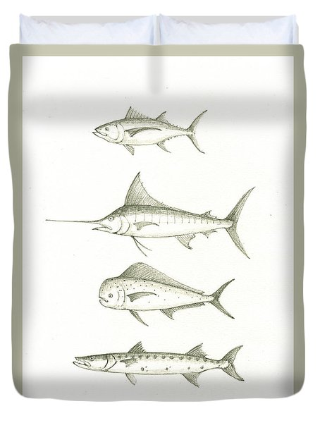 Saltwater Gamefishes Duvet Cover by Juan Bosco