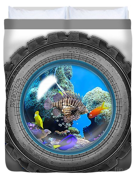 Saltwater Tire Aquarium Duvet Cover by Marvin Blaine