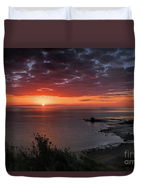 Saltwick Bay Sunrise  Duvet Cover by David  Hollingworth