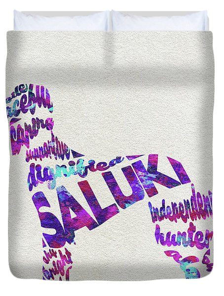 Duvet Cover featuring the painting Saluki Dog Watercolor Painting / Typographic Art by Inspirowl Design