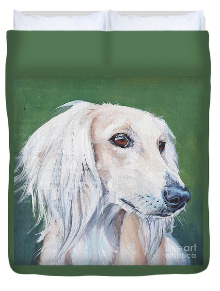 Duvet Cover featuring the painting Saluki Sighthound by Lee Ann Shepard