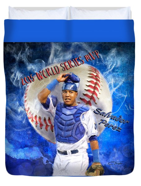 Salvador Perez 2015 World Series Mvp Duvet Cover by Colleen Taylor