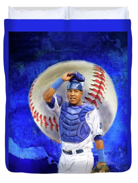 Duvet Cover featuring the mixed media Salvador Perez-kc Royals by Colleen Taylor