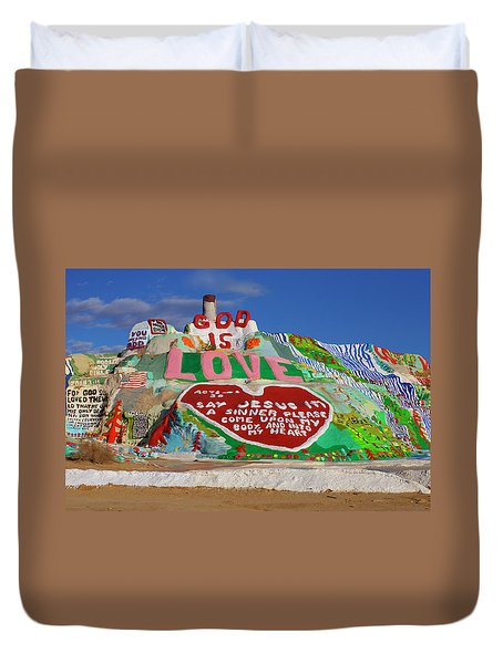 Duvet Cover featuring the photograph Salvation Mountain by Matthew Bamberg