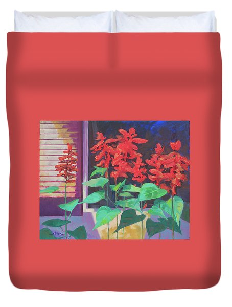 Salvia In The Windowbox Duvet Cover by Carol Strickland