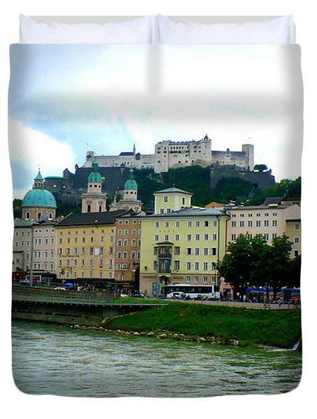 Salzburg Over The Danube Duvet Cover by Carol Groenen