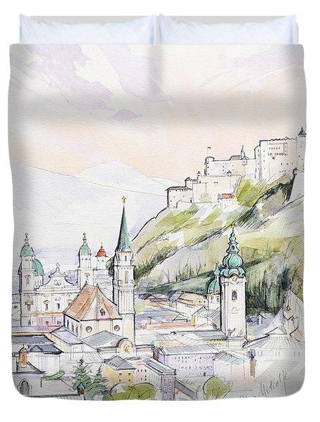 Salzburg Sunrise  Duvet Cover by Clive Metcalfe