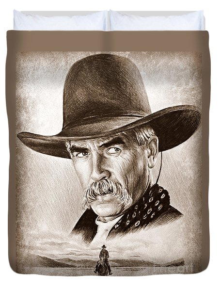 Sam Elliot The Lone Rider Duvet Cover