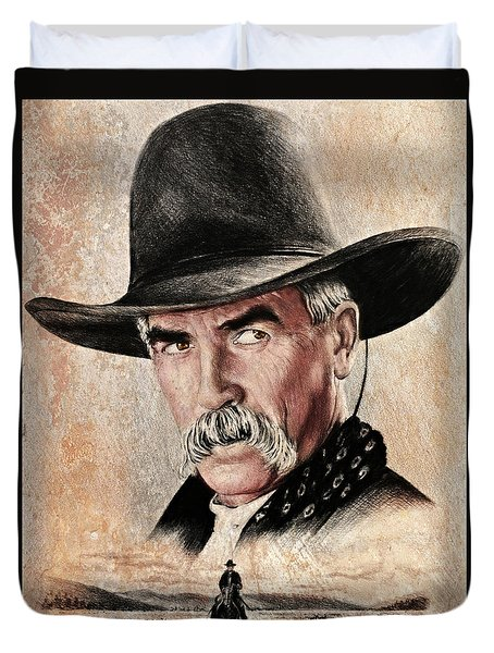 Sam Elliot The Lone Rider Sepia Duvet Cover