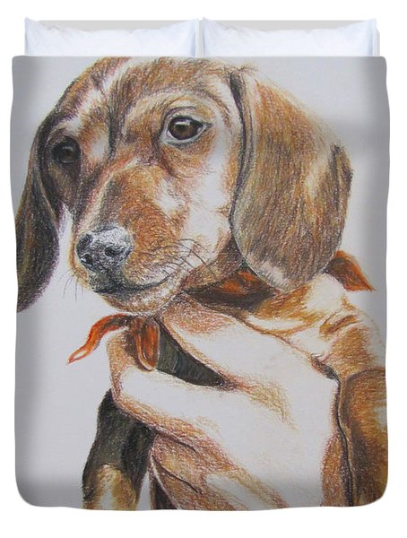 Duvet Cover featuring the drawing Sambo by Karen Ilari