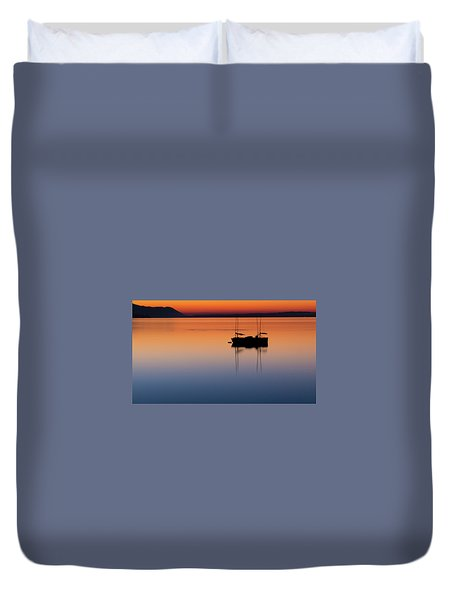 Samish Sea Sunset Duvet Cover by Tony Locke