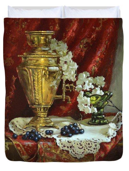 Samovar And Cherry Blossoms Duvet Cover
