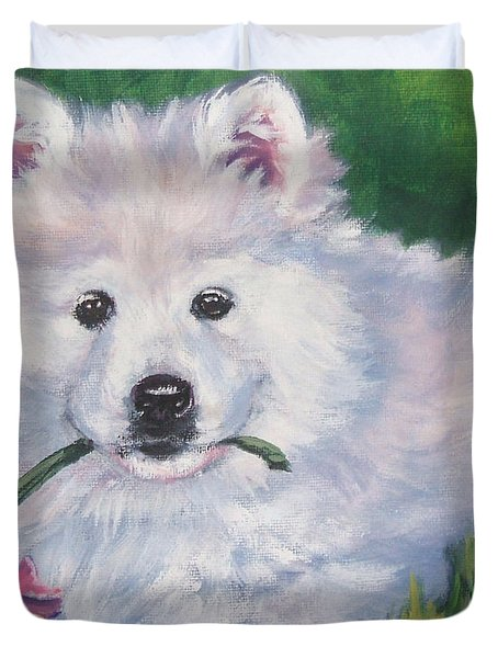 Samoyed Pup With Peony Duvet Cover
