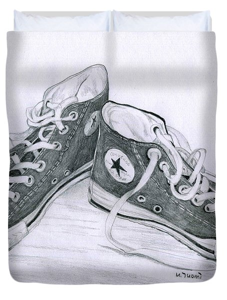 Sam's Shoes Duvet Cover by Mary Tuomi