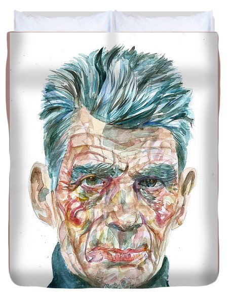 Duvet Cover featuring the painting Samuel Beckett Watercolor Portrait.10 by Fabrizio Cassetta