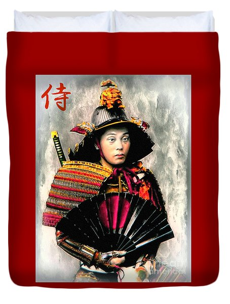 Samurai 1898 With Iron Fan Duvet Cover