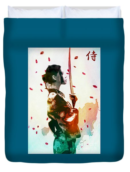 Samurai Girl - Watercolor Painting Duvet Cover