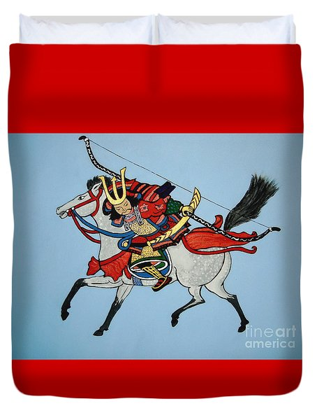 Duvet Cover featuring the painting Samurai Rider by Stephanie Moore