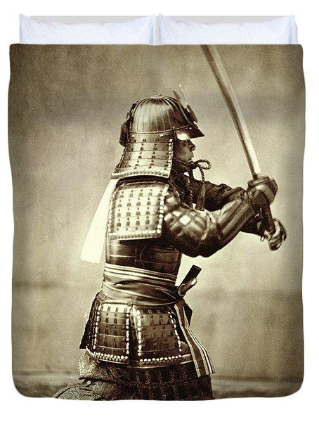 Samurai With Raised Sword Duvet Cover by F Beato