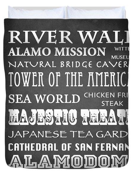 San Antonio Famous Landmarks Duvet Cover