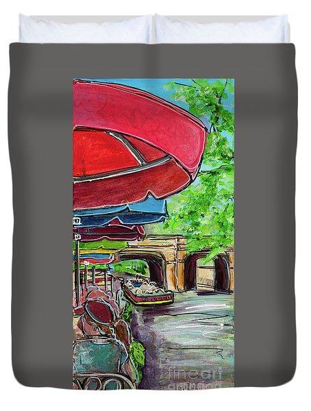 San Antonio River Walk Cafe Duvet Cover