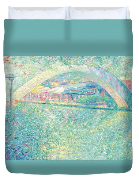 Duvet Cover featuring the painting San Antonio Riverwalk by Felipe Adan Lerma