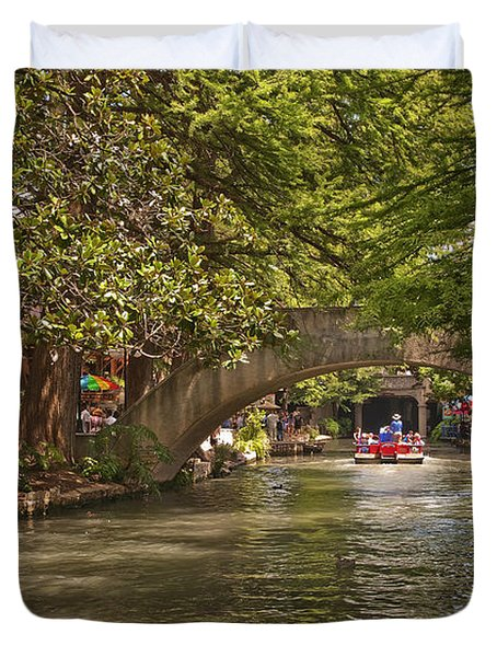 San Antonio Riverwalk Duvet Cover