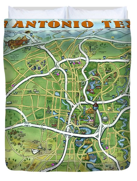 San Antonio Texas Cartoon Map Duvet Cover