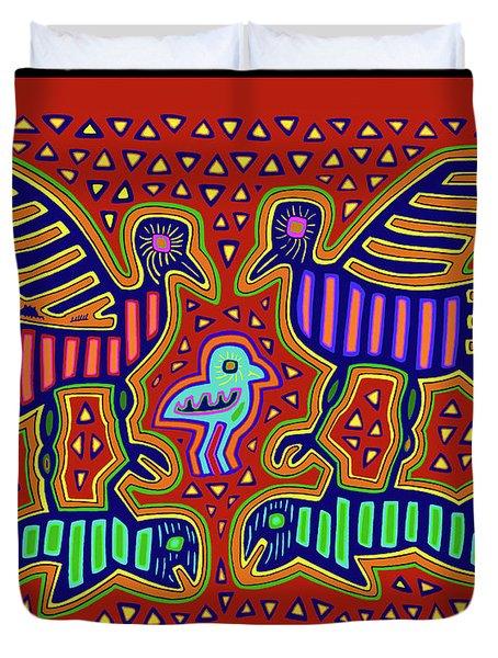 Duvet Cover featuring the digital art San Blas Kuna Bird Family With Fish by Vagabond Folk Art - Virginia Vivier
