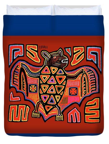 Duvet Cover featuring the digital art San Blas Kuna Indian Bat by Vagabond Folk Art - Virginia Vivier