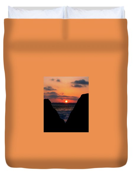 San Clemente Beach Rock View Sunset Portrait Duvet Cover