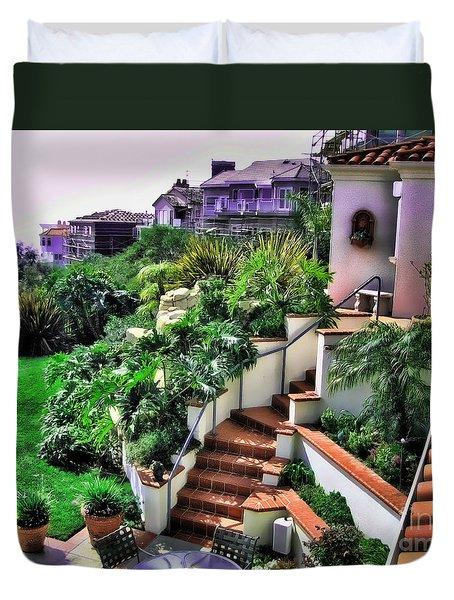 Duvet Cover featuring the digital art San Clemente Estate Backyard by Kathy Tarochione