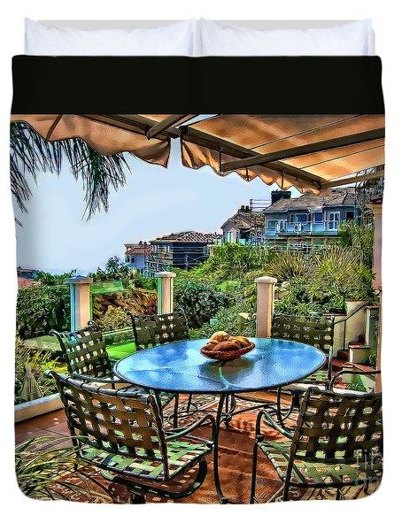 Duvet Cover featuring the digital art San Clemente Estate Patio by Kathy Tarochione