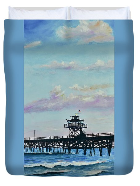 Duvet Cover featuring the painting San Clemente Evening by Mary Scott