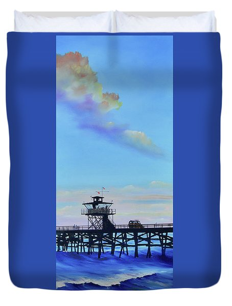 Duvet Cover featuring the painting San Clemente High Surf by Mary Scott