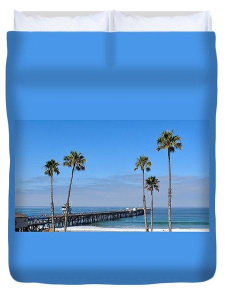 San Clemente Pier Duvet Cover