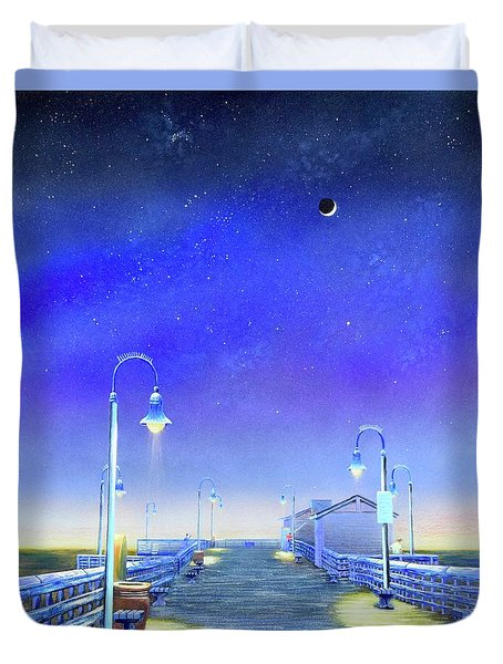 Duvet Cover featuring the painting San Clemente Pier by Mary Scott