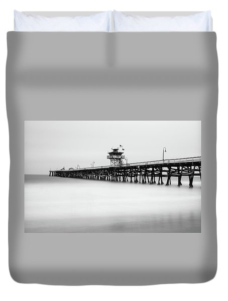 Duvet Cover featuring the photograph San Clemente Pier by Tassanee Angiolillo