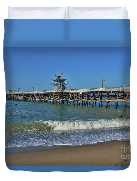 San Clemente Pier Duvet Cover by Tommy Anderson