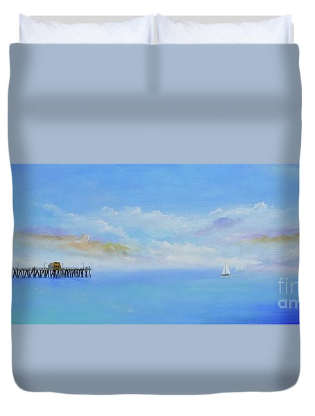 Duvet Cover featuring the painting San Clemente Sail by Mary Scott