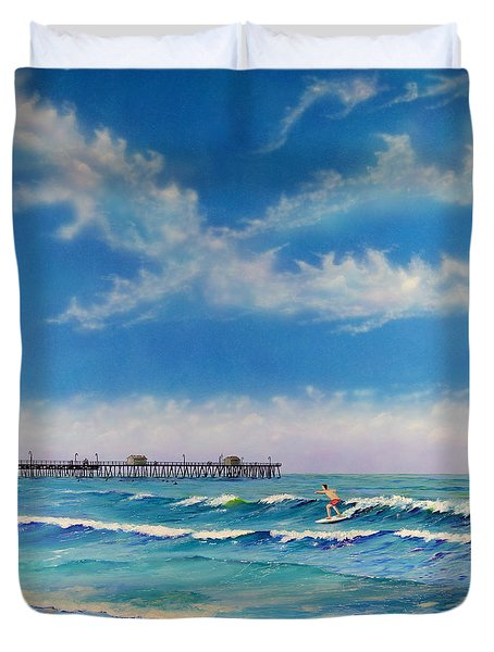 Duvet Cover featuring the painting San Clemente Surf by Mary Scott