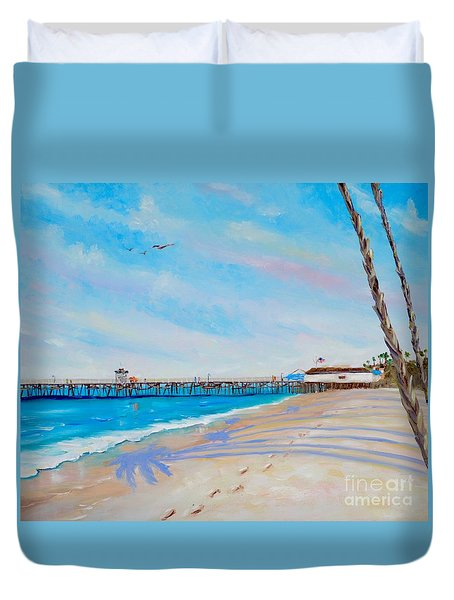 Duvet Cover featuring the painting San Clemente Walk by Mary Scott