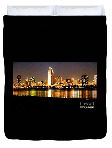 San Diego Skyline With Reflections On Mission Bay Duvet Cover