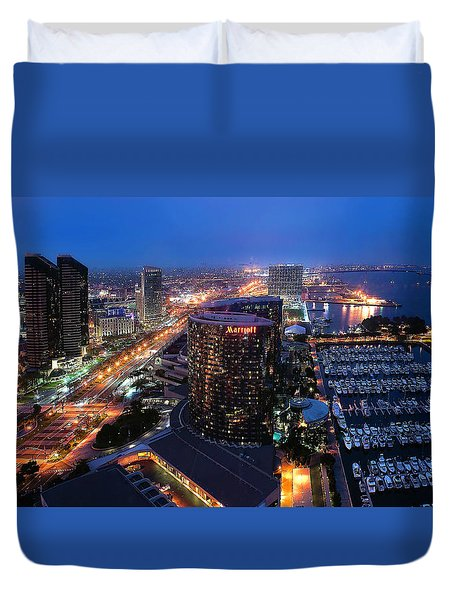 Duvet Cover featuring the photograph San Diego Bay by Lynn Geoffroy