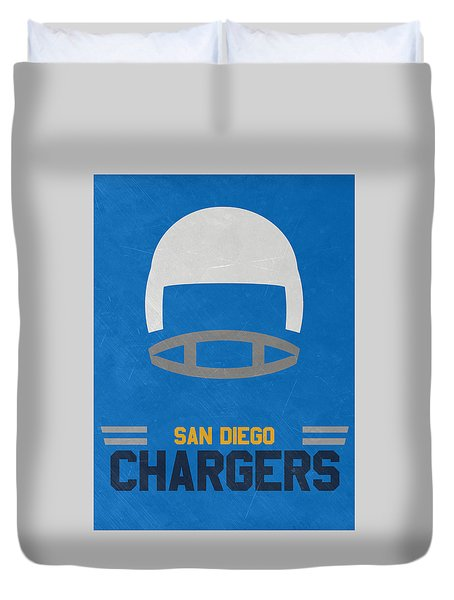 San Diego Chargers Vintage Art Duvet Cover