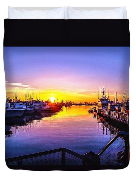 San Diego Harbor Sunrise Duvet Cover