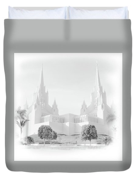 Duvet Cover featuring the photograph San Diego Lds Temple by Marie Leslie