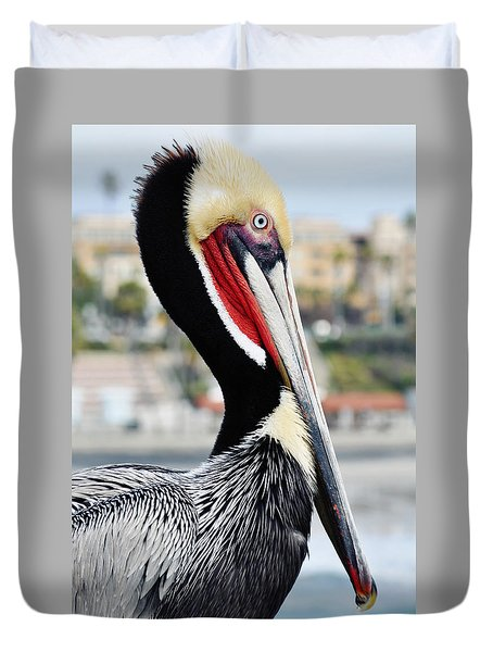 Duvet Cover featuring the photograph San Diego Pelican by Kyle Hanson