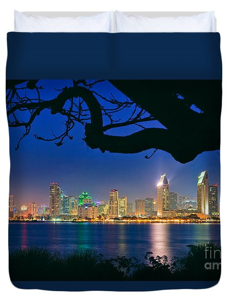 San Diego Skyline From Bay View Park In Coronado Duvet Cover